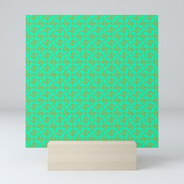 Stylized Art Deco S Monogram Spur on Turquoise Mint Green Ranch & Rodeo Design Pattern Mini Art Print