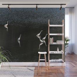 Egrets At Night Wall Mural
