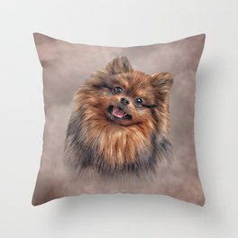 Drawing Dog Pomeranian Spitz Throw Pillow
