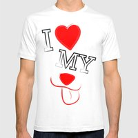 I Love My Dog Mens Fitted Tee SMALL White