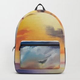 cloud dreaming, skyscape, ocean sunset, purple sunset, clouds artwork, sky painting Backpack