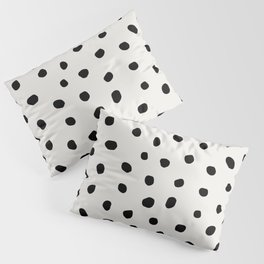 Modern Polka Dots Black on Light Gray Pillow Sham