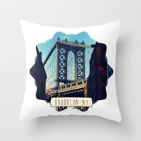 brooklyn Throw Pillows featuring BROOKLYN by Alexandre Ormond