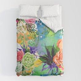 Pastel Pink, Peach & Rose Watercolor Floral Print Comforters