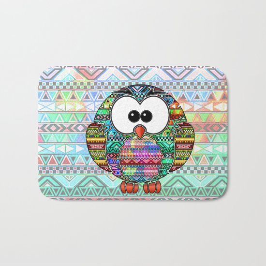 Owl aztec tribal best design  Bath Mat