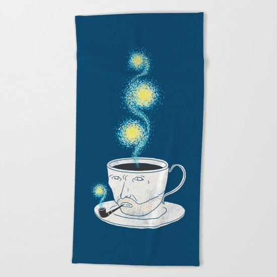 Starry starry coffee Beach Towel