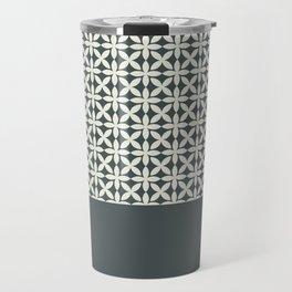 Pantone Cannoli Cream Square Petal Pattern on PPG Night Watch Pewter Green Travel Mug