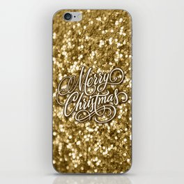 Glitter Gold Xmas iPhone Skin