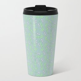 Seahorses with Coral in Green & Light Purple Travel Mug