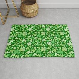 Lucky Green Watercolour Shamrock Pattern Rug
