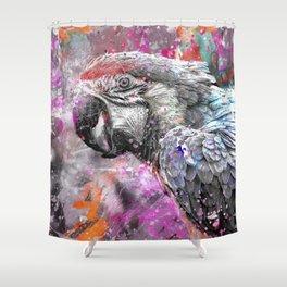 artsy parrot mixed media art Shower Curtain