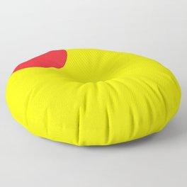 Red heart in yellow Floor Pillow