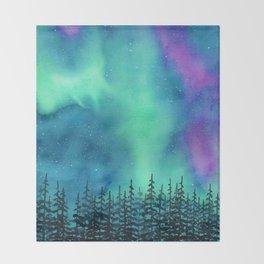 """Wilderness Lights"" Aurora Borealis watercolor landscape painting Throw Blanket"