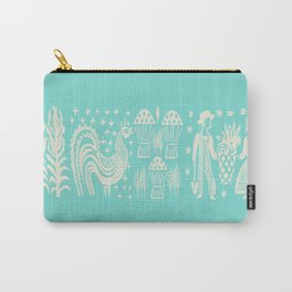 Turquoise Butterprint Cinderella Stack Carry-All Pouch
