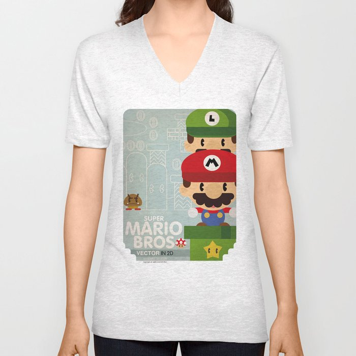 mario bros 2 fan art Unisex V-Neck
