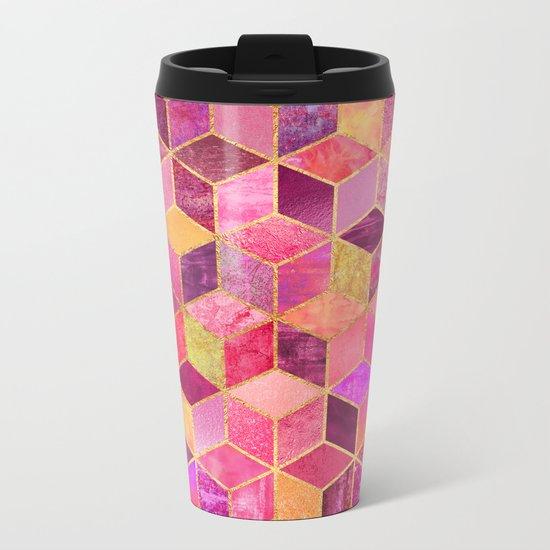 Pink Cubes Metal Travel Mug