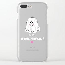 Hey Boo Tiful Cute Ghost Pun Clear iPhone Case
