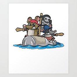 PIRATS Pirate Rat Rats Pirates Pirateship Cartoon Art Print