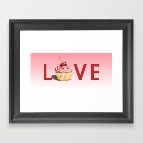 Perfect Pink Cupcake LOVE Framed Art Print