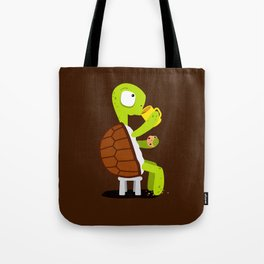 Turtle drinking tea with cookies. Tote Bag