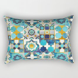 Spanish moroccan tiles inspiration // turquoise blue golden lines Rectangular Pillow