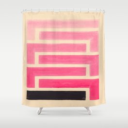 Pink Ombre Geometric Pattern Shower Curtain