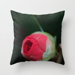 Blooming cameilla bud Throw Pillow