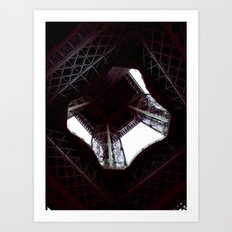 UNDER THE SKIRT OF THE EIFFEL TOWER. Art Print