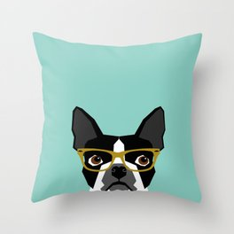 Darby - Boston Terrier pet design with hipster glasses in bold and modern colors for pet lovers Throw Pillow