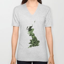 Great Britain Map Print Abstract in Army Camouflage Greens - A great talking piece for the home! Unisex V-Neck