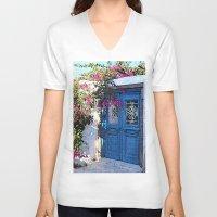 doors V-neck T-shirts featuring Santorini Doors by Brian Raggatt