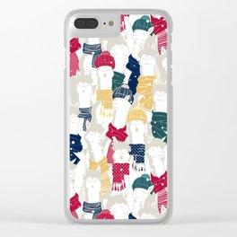 Happy llamas Christmas choir Clear iPhone Case