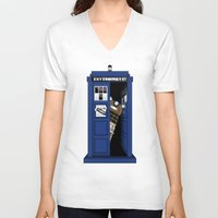 dalek V-neck T-shirts featuring Dr. Dalek by AWOwens