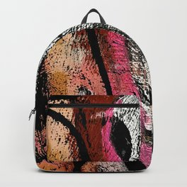 Motivation [2] : a colorful, vibrant abstract piece in pink red, gold, black and white Backpack