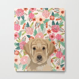 Labrador puppy floral pet portrait wall art and gifts for dog breed lovers Metal Print