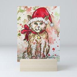 Santa Cat Mini Art Print