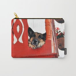 Sad Dog In Red Balcony. Carry-All Pouch