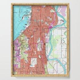 Vintage Map of Everett Washington (1953) Serving Tray