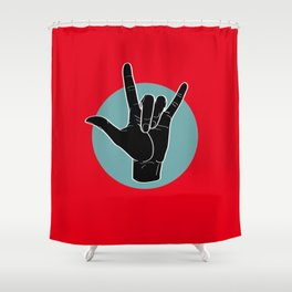 ILY - I Love You - Sign Language - Black on Green Blue 01 Shower Curtain