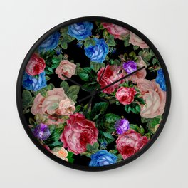 Floral pattern, blue roses,lisianthus.Black background  Wall Clock