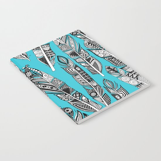 geo feathers turquoise blue Notebook