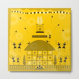 Warli - Yellow Metal Print