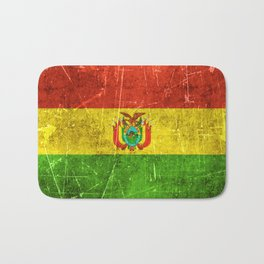 Vintage Aged and Scratched Bolivian Flag Bath Mat