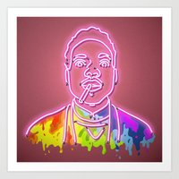 chance the rapper Art Prints featuring Chance the Rapper - Neon Sign by Kenneth Osborn