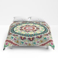 Comforters featuring Sloth Yoga Medallion by Huebucket