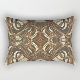 Neo-Tribal Woodwork Mandala Print Rectangular Pillow