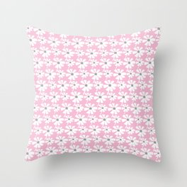 Daisies In The Summer Breeze - Pink Grey White Throw Pillow