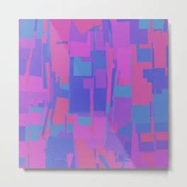 Abstract Cityscape Hot Pink & Blue Metal Print