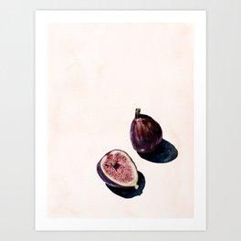 Fruit Still Life Print | Figs Watercolor Aesthetic Painting | Minimal Nudes | Modern Art Art Print