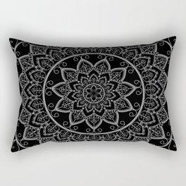 Black and White Lace Mandala Rectangular Pillow